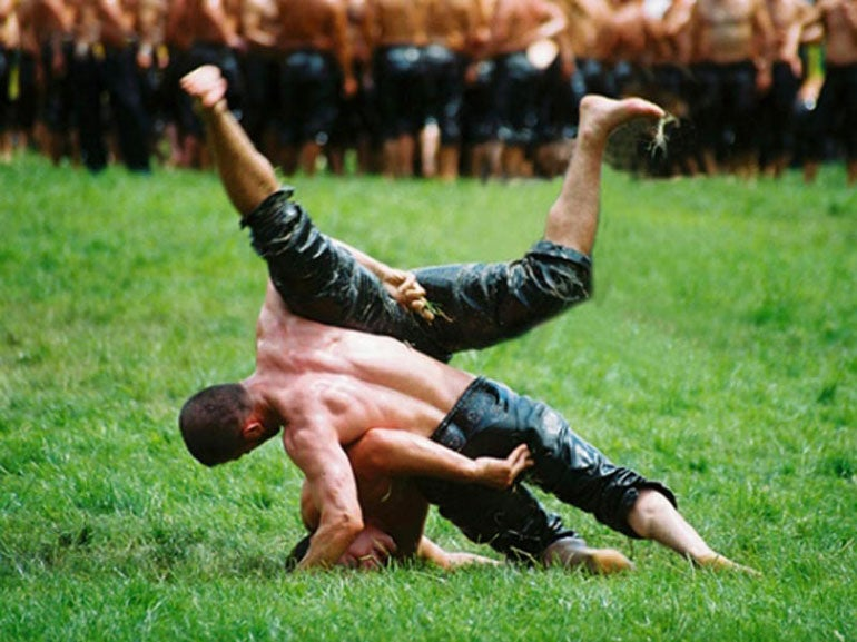 Kirkpinar is a Turkish oil wrestling festival held at Edirne