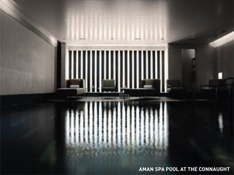 Dark indoor relaxation spa pool