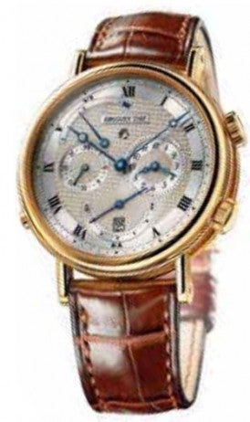 Classic gold watch with brown leather strap