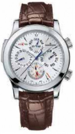 Beautiful silver watch with brown leather strap