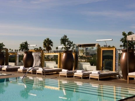 THE POOLDECK AT THE SLS HOTEL