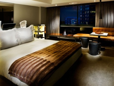 the Presidential Suite Bedroom at the SLS HOTEL