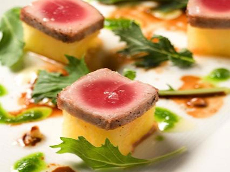 SEARED TUNA WITH YELLO W WATERMELON