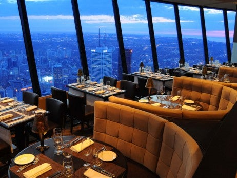 THE MAGNIFICENT VIEWS FRO M THE 360 RESTAURANT AT THE CN TOWER