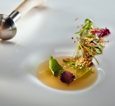 Mortar Soup With Spices, Seeds, Fish Broth And Fresh Herbs, Mugaritz