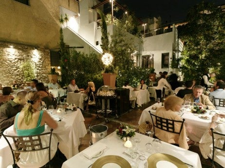 Alfresco dining at Spondi - best restaurant in athens