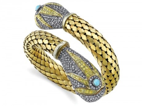 gold snake bracelet with diamonds and turquoise