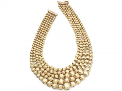 yellow gold Africa bib necklace