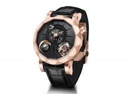 Very expensive rose gold designer watch with black leather strap