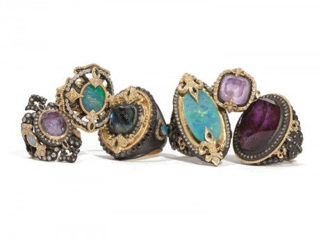 yellow gold and oxidized gold rings with sugelite, boulder opal and mother-of-pearl doublets with white and black diamonds and sapphires
