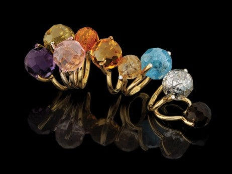 Yael Sonia Faceted Rock rings bouquet