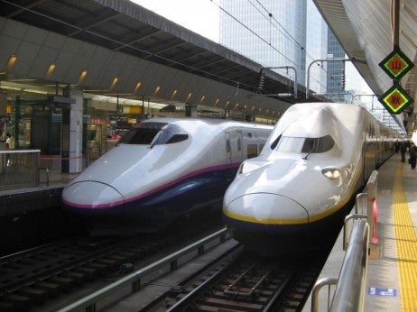 High-speed trains in Japan.