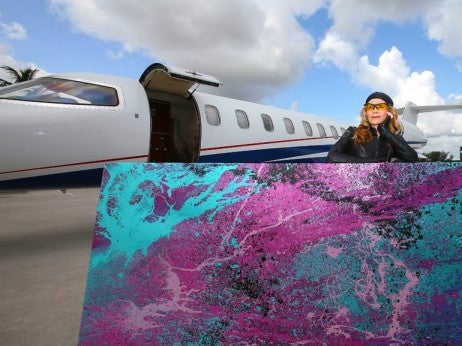 Princess Tarinan von Anhalt Stands with a Painting and Flexjet's Learjet 45 XR