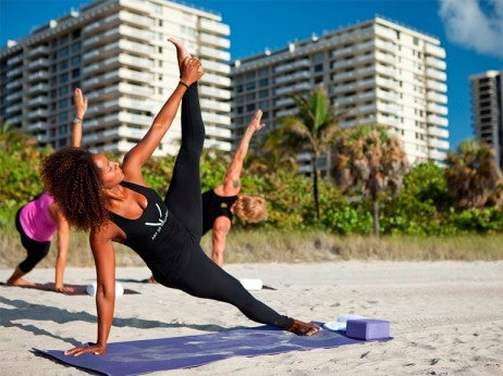 Beach yoga at the St. Regis Bal Harbour Resort