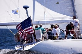 silken_Stern of Valient patient sail with Old Glory and Sailing Heals burgee