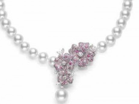 Cherry Blossom Necklace with White South Sea Cultured Pearls, Pink Sapphires, And White Diamonds / Mikimoto