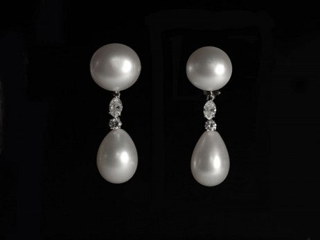 Platinum, Diamond, And Natural Pearl Pendant Earrings Formerly Belonging To Elizabeth Taylor / Bulgari