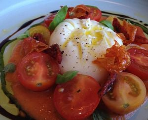 Local burrata and tomatoes