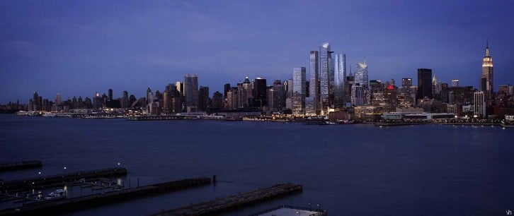 Evening View Of Hudson Yards, From The Hudson River - Courtesy Related-Oxford