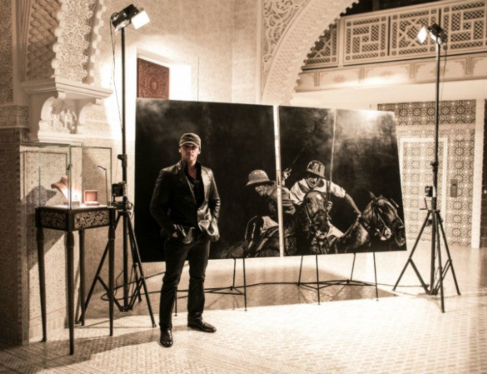 British Polo Day artist Mark Evans at Royal Mansour British Polo Day Launch Party