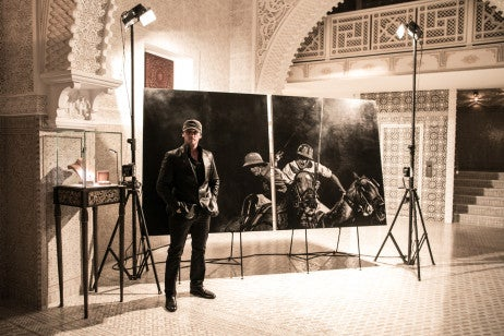 British Polo Day artist Mark Evans at Royal Mansour British Polo Day Launch Party. Credit Keoma Yac
