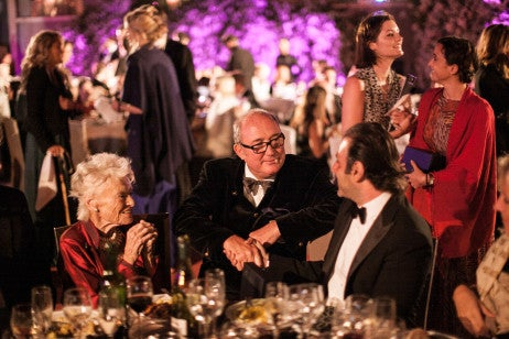 Eve Branson, Peter Prentice and Abdelhadi at the British Polo Day Morocco Gala Dinner at Dar Soukkar. Credit Keoma Yac