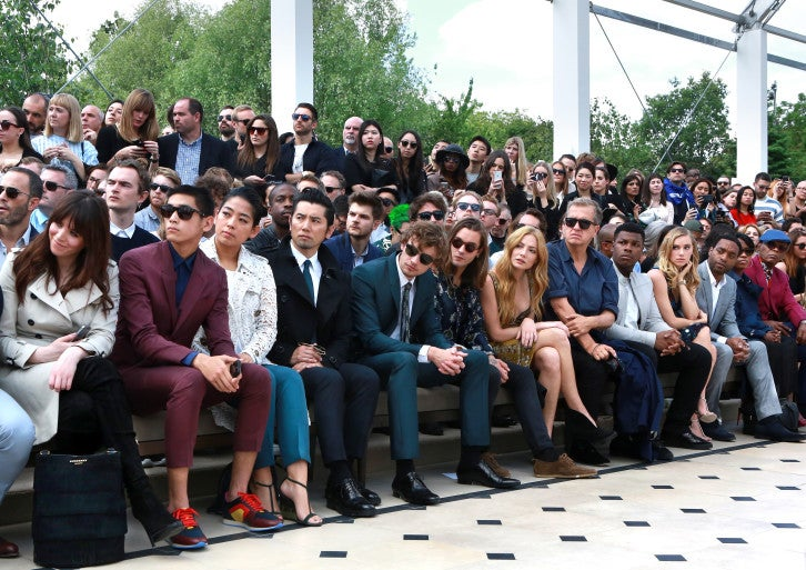 Front Row on the Burberry Menswear Spring Summer 2016 Show