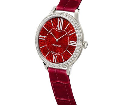 Fabergé Lady Fabergé 39mm 18ct White Gold Watch - Enamel Red Dial resized