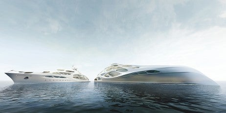 128m Superyacht inspired by fluid dynamics and underwater ecosystems