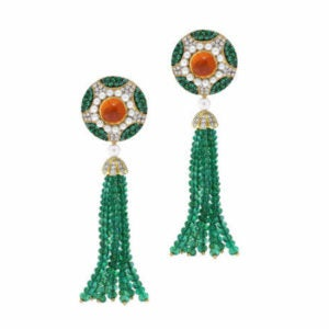 Lost at Sea Love Survives one-of-a-kind Diamond Emeralds Mandarin Garnet Tassel Earrings by Abellan New York