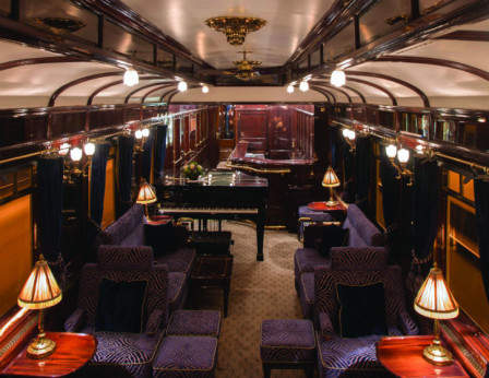 The Venice Simplon Orient Express Has Unveiled A New Bar Car Christened 3674 Featuring Vibrant Blues And Golds Reflecting Iconic Insignia Of