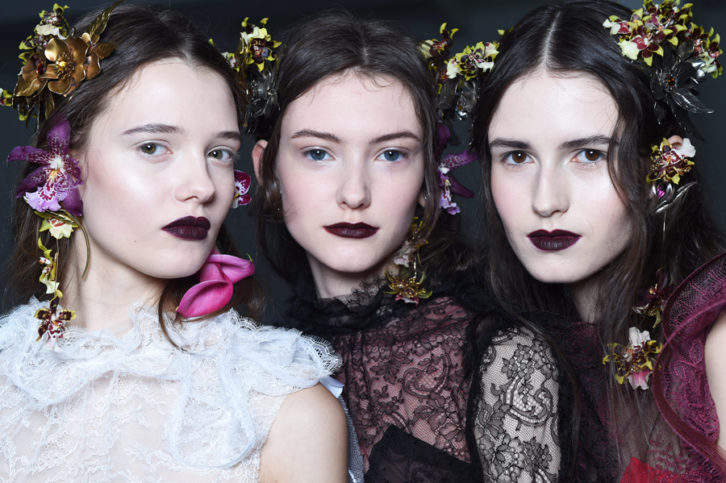 Models backstage at Rodarte's AW Show, photo courtesy of NARS Cosmetics