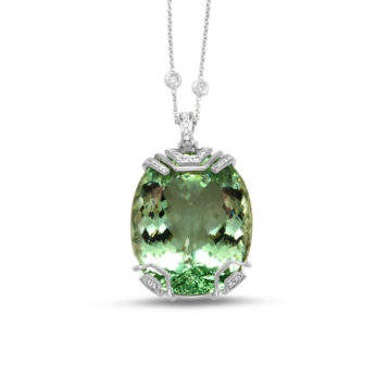Frederic Sage 18K white gold one-of-a-kind pendant with 76.83 carat oval-cabochon green beryl and 0.31 carat diamond with diamond by the yard chain, $36,660