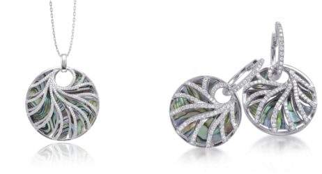 Frederic Sage 18K white gold Venus pendant and earrings with abalone and diamonds, $6,995 and $5895