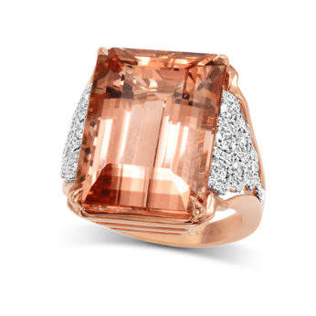 Frederic Sage 18K pink and white gold one-of-a-kind ring with 24.69 carat emerald cut morganite and 0.88 carat raindrop diamonds, $19,980