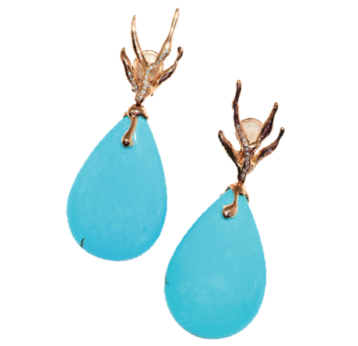 At De Grisogono Designer Fawaz Gruosi Used Turquoise In His Melody Of Colors Collection These Earrings Feature 48 Cabochon Cut 18 Marquise