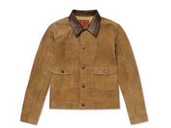 leather trimmed suede jacket