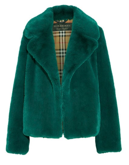 burberry net-a-porter capsule collection green faux fur coat
