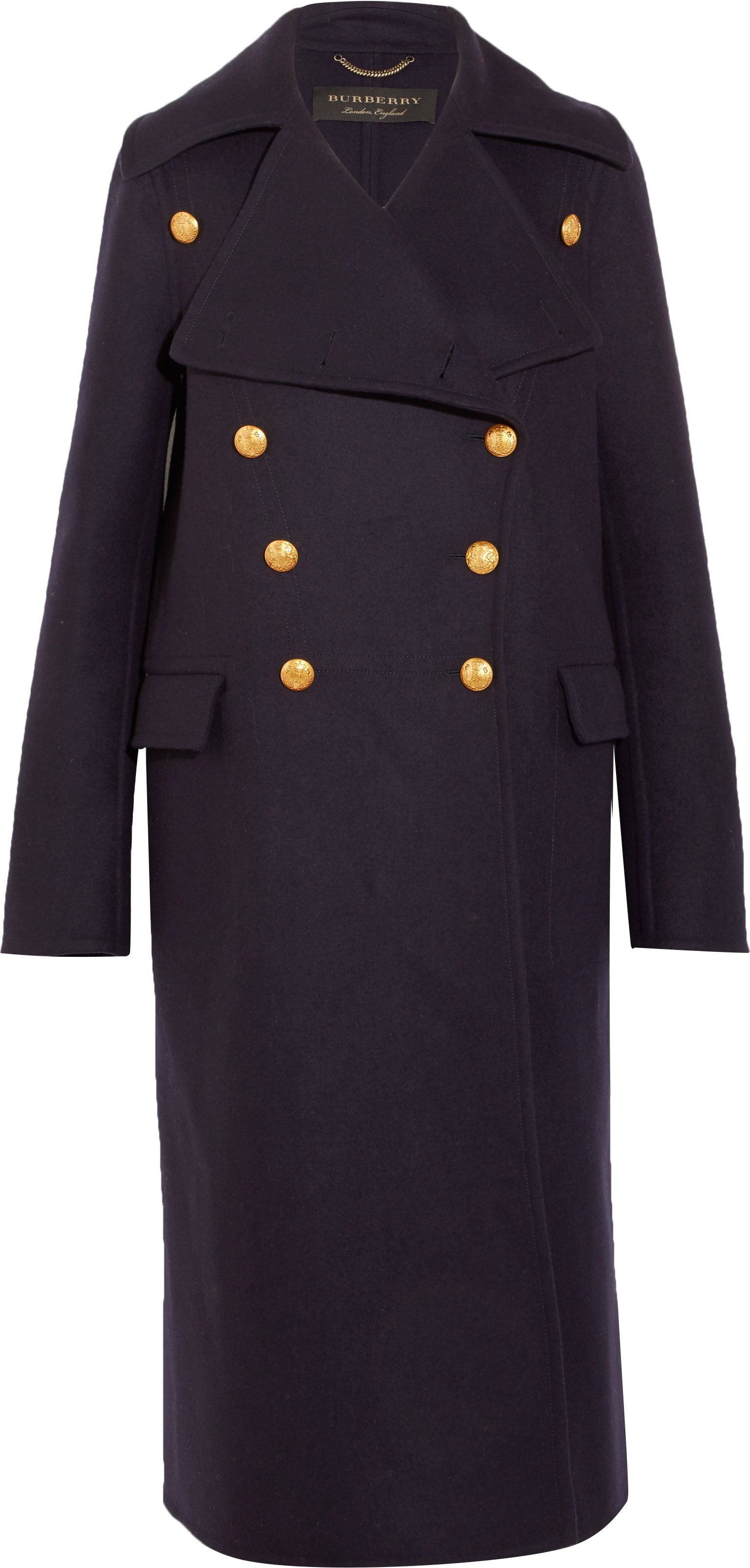 burberry net-a-porter capsule collection navy wool coat