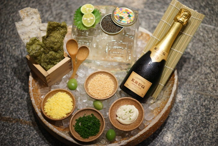 Caviar and Krug champagne at Zuma New York