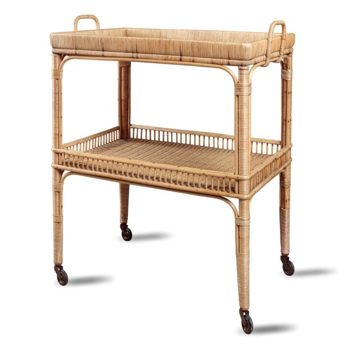 home bar accessories: rattan bar trolley