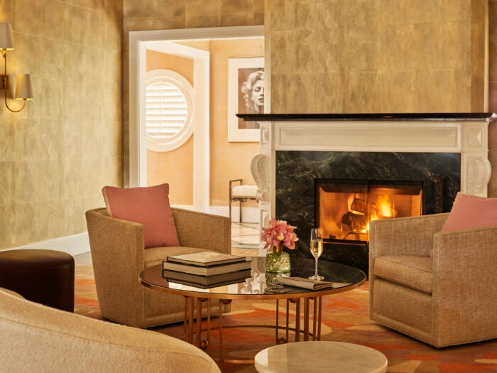 Fireplace in Live like Marilyn bungalow 1 beverly hills hotel