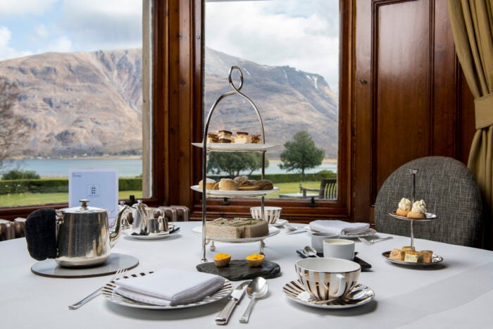 afternoon tea with view over scottish highlands