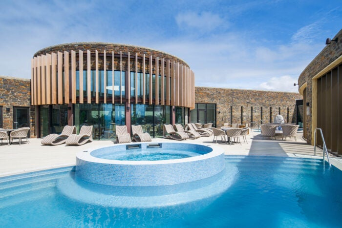 spa and outdoor pool at the headland spa hotel uk