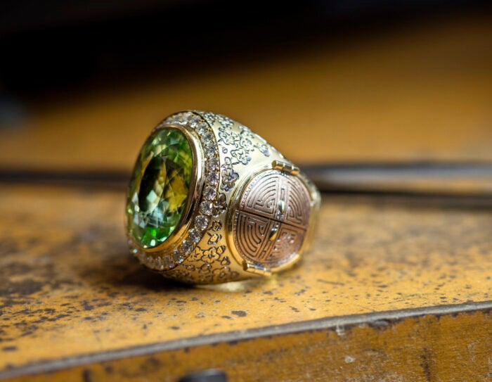 Close up of hand crafted TF ring