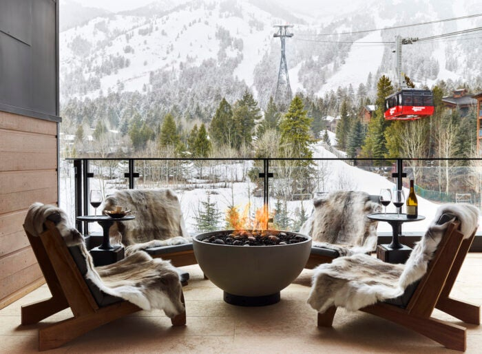 Caldera house fire pit and ski slope