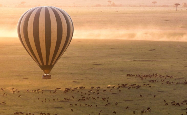 hot air balloon over Serengeti