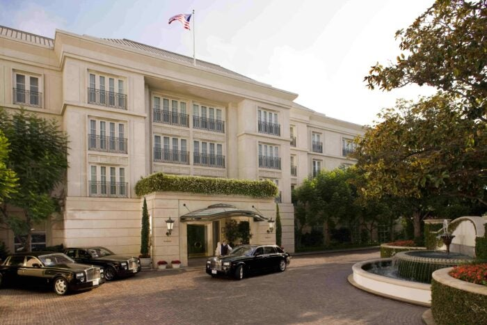 Peninsula Beverly Hills exterior with Rolls Royce