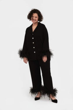 sleeper feather trim pajamas for her
