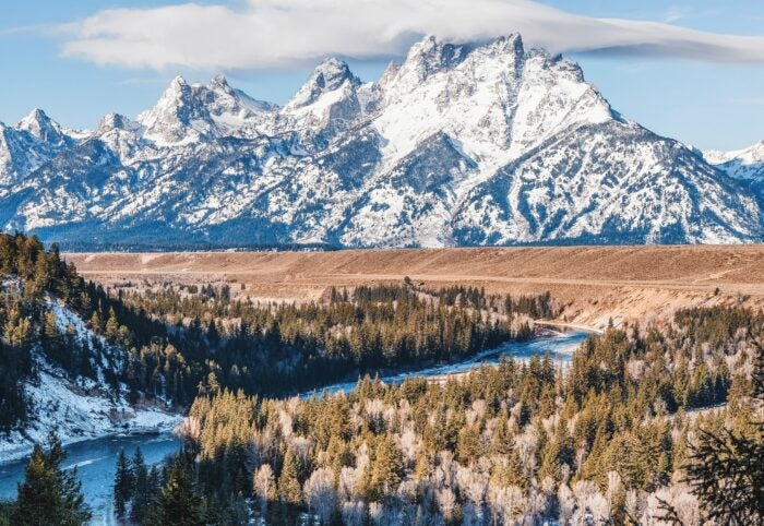 Teton mountain range covered in snow